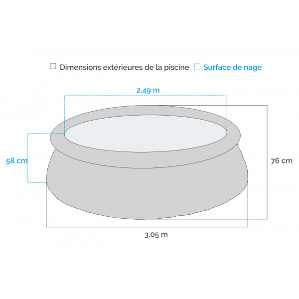 dimensions Piscine autoportante INTEX Easy Set 3.05 x 0.76 m