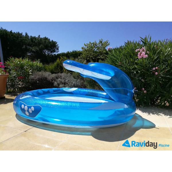 Piscinette pataugeoire balaine bleue intex avec fontaine jet d'eau vue côté