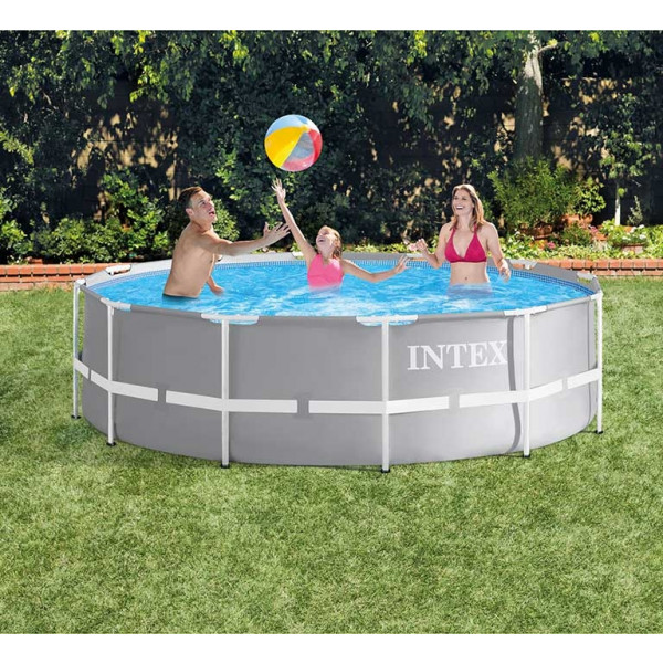 Piscine tubulaire ronde Intex Prism Frame 3,66 x 0,99 m - Coloris Gris