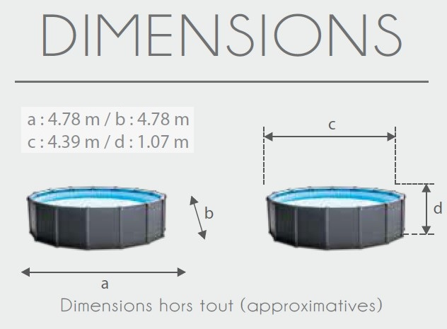 Piscine intex graphite 4 78 x 1 24 piscine tubulaire ronde for Piscine hors sol dimension