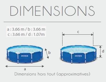 Piscine intex prism frame 3 66m x 1 22m piscine for Piscine ovale intex 6 10 x 3 66 x1 22m