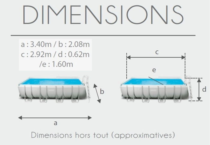 dimensions de la piscine Intex 28314FR Piscine tubulaire Intex Prism Frame 3 x 1,75 x 0,8 m