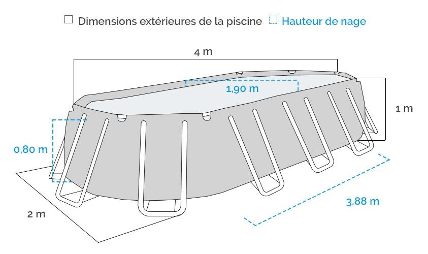 Dimensions de la Piscine tubulaire ovale Intex Prism Frame 4 x 2 x 1m