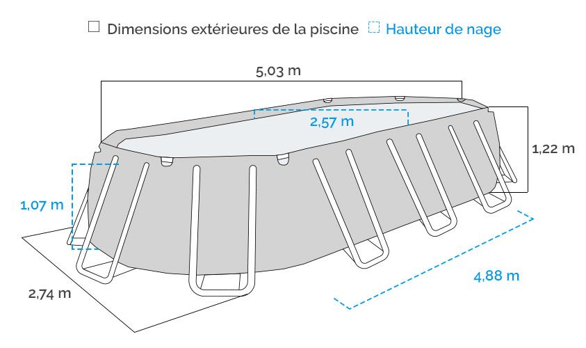 Dimensions de la Piscine tubulaire Intex Prism Frame 4,88 x 2,44 x 1,07 m