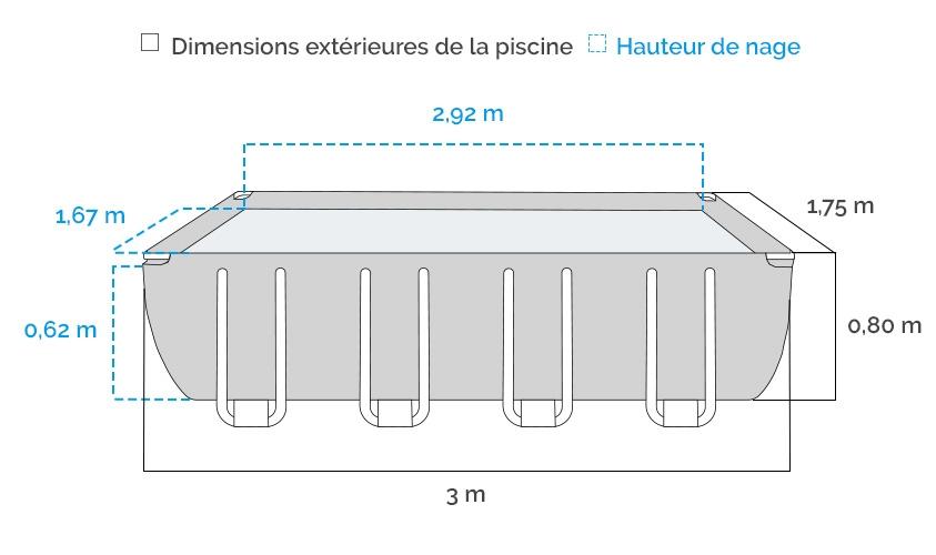 dimensions de la piscine Intex tubulaire Prism Frame 3 x 1,75 x 0,8 m