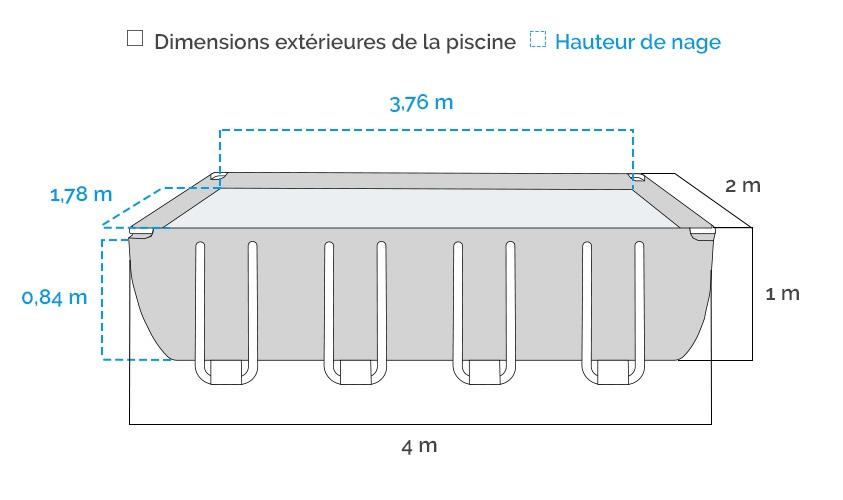 Dimensions de la Piscine tubulaire Intex Prism Frame 4 x 2 x 1 m