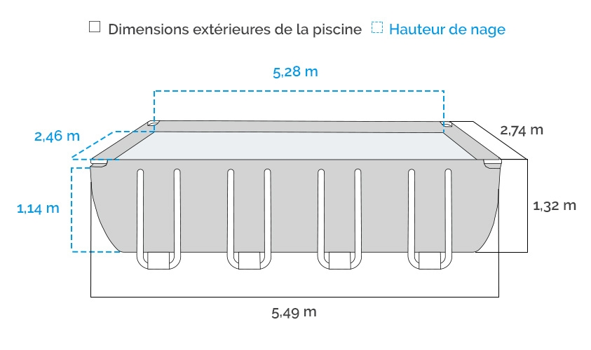 Dimensions de la Piscine tubulaire Intex Ultra XTR 5.49 x 2.74 x 1.32 m