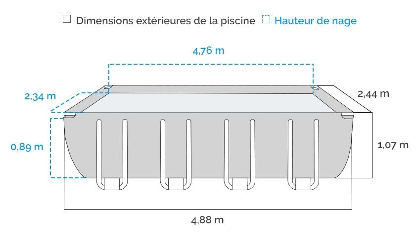 Dimensions de la Piscine tubulaire Intex Prism Frame 4,88 x 2,44 x 1,07 m - Coloris Gris