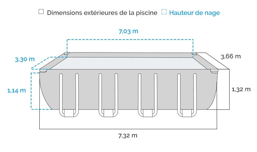 Dimensions de la Piscine tubulaire Intex Ultra XTR 7.32 x 3.66 x 1.32 m
