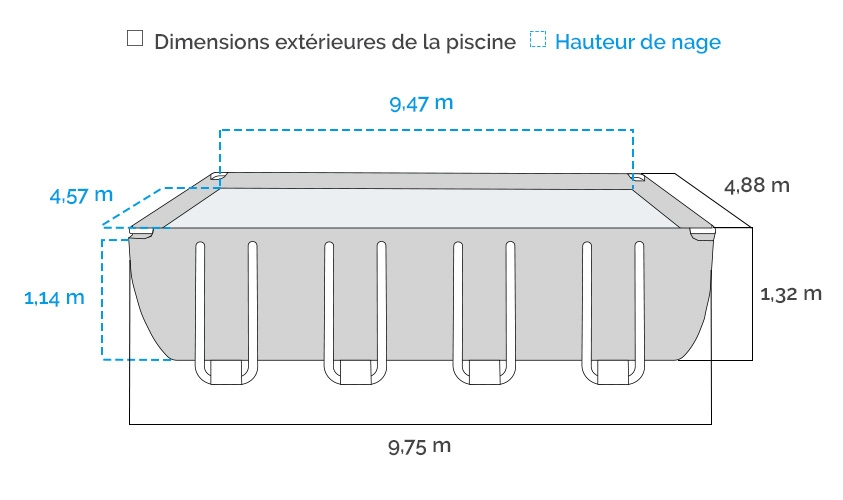 Dimensions de la piscine tubulaire Intex Ultra XTR 9.75