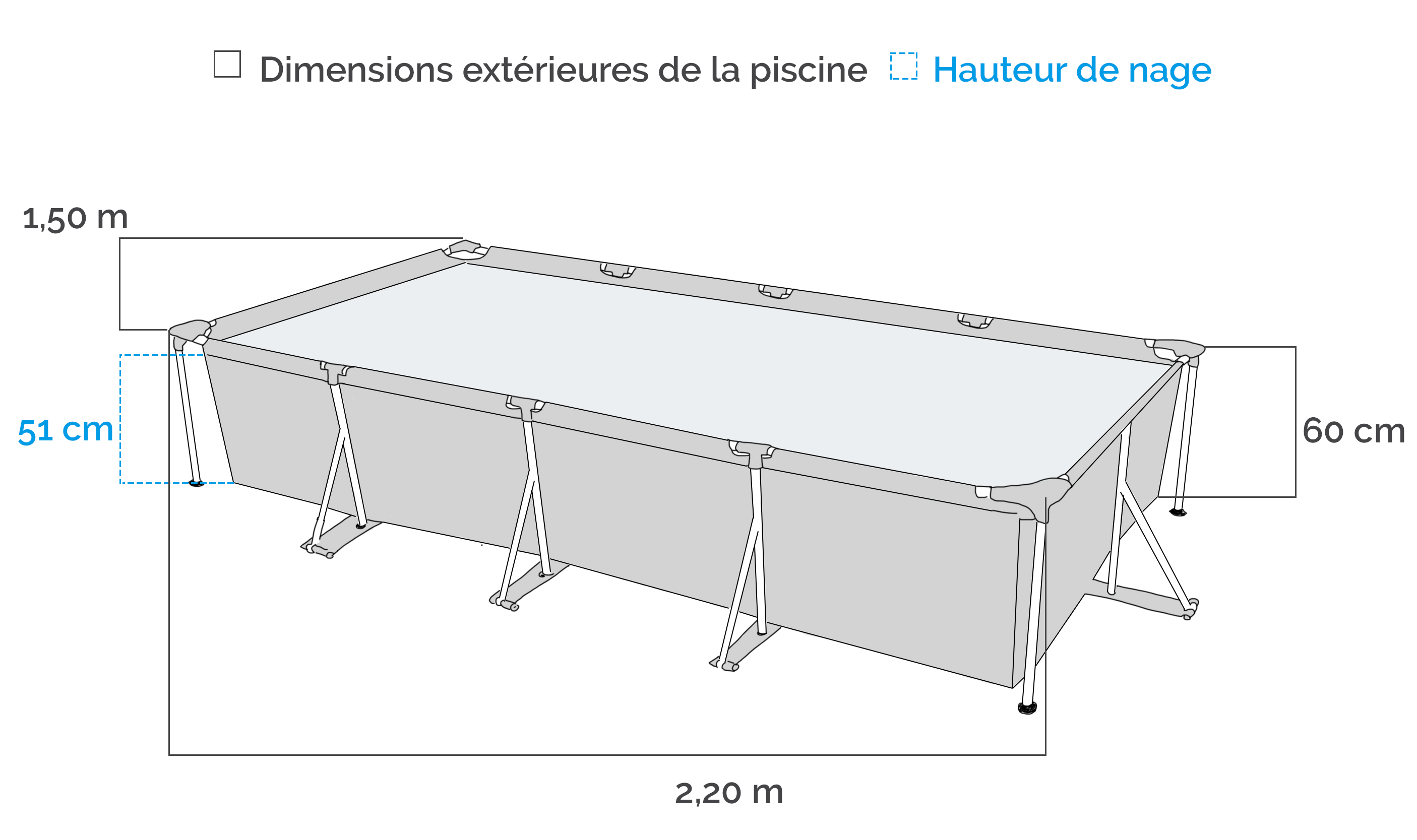 Piscine tubulaire intex metal frame x x m for Dimension piscine