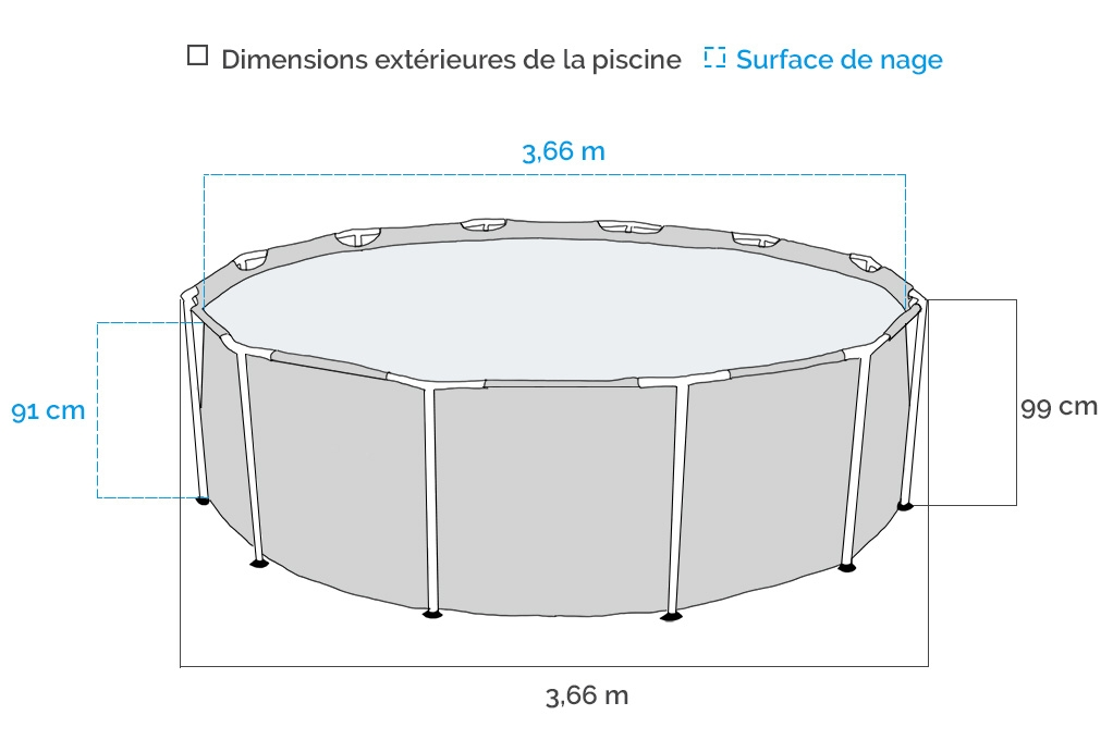 Dimensions piscine tubulaire ronde Intex Prism Frame 3,66 x 0,99 m