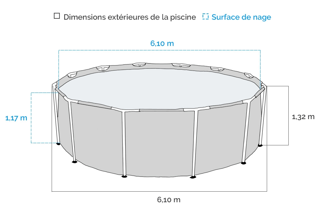 Dimensions piscine tubulaire ronde Intex Prism Frame 6,10 x 1,32 m