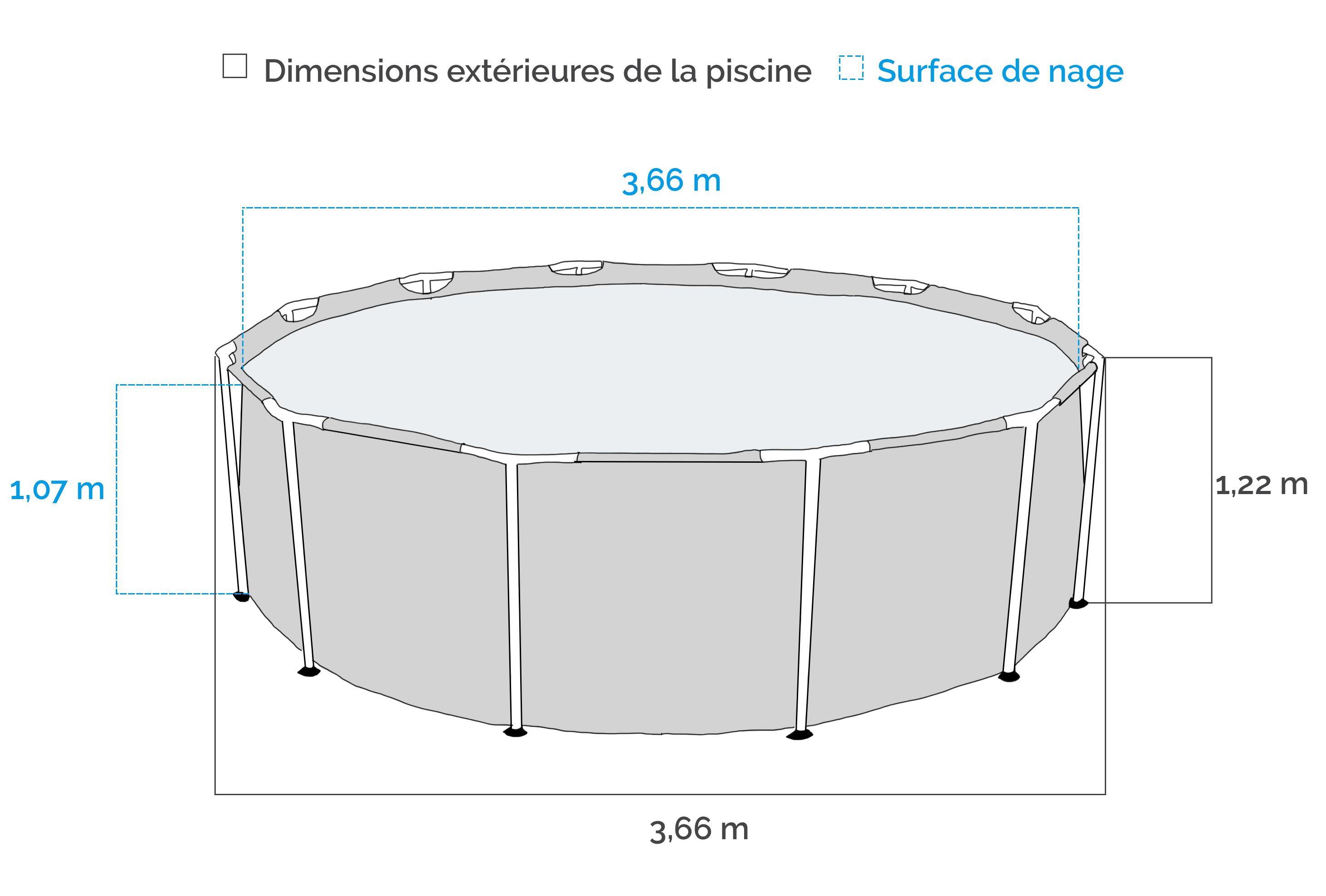 Dimensions piscine tubulaire Intex Prism Frame 3,66 x 1,22 m