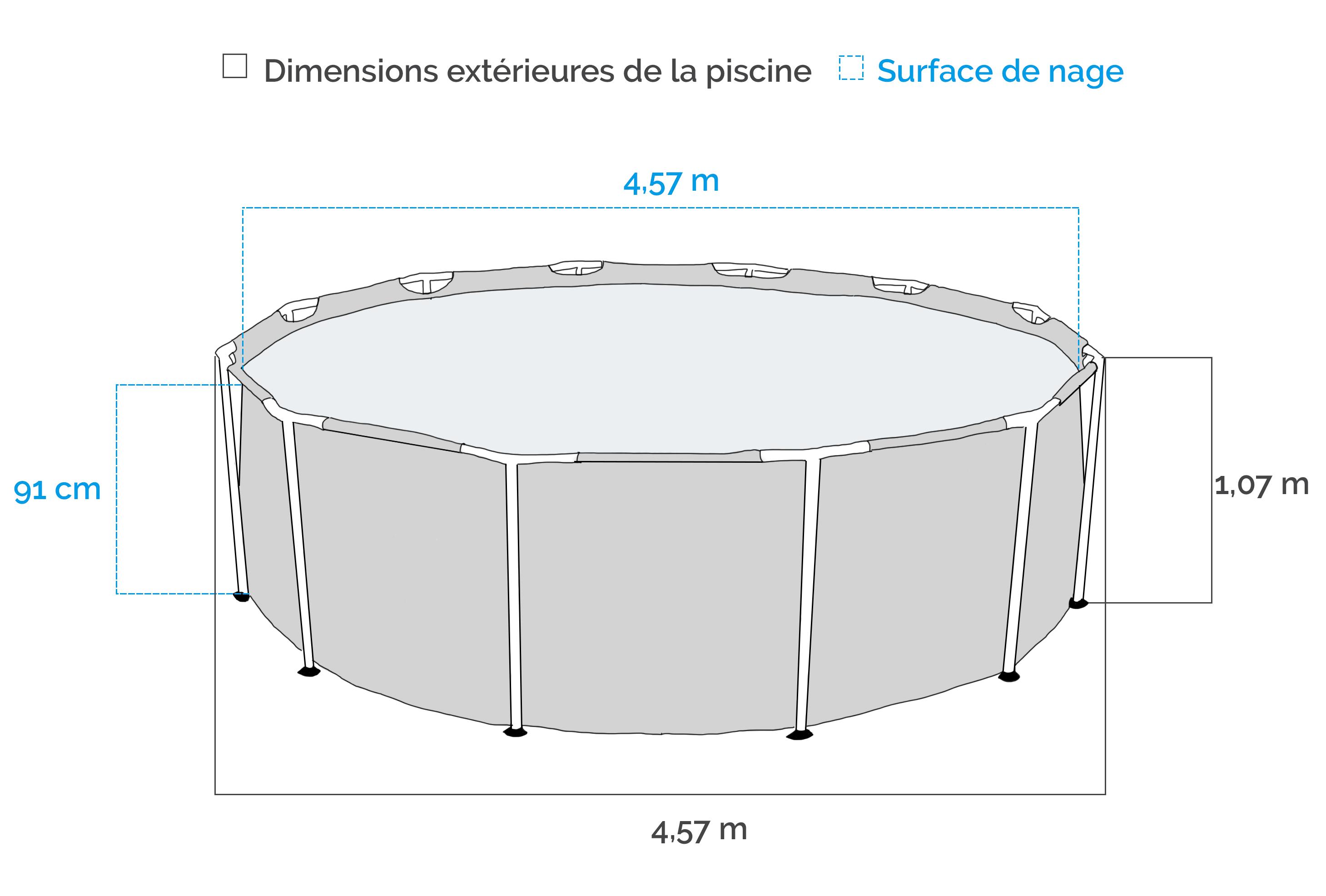 Dimensions de la Piscine tubulaire Intex Prism Frame 4,57 x 1,07 m