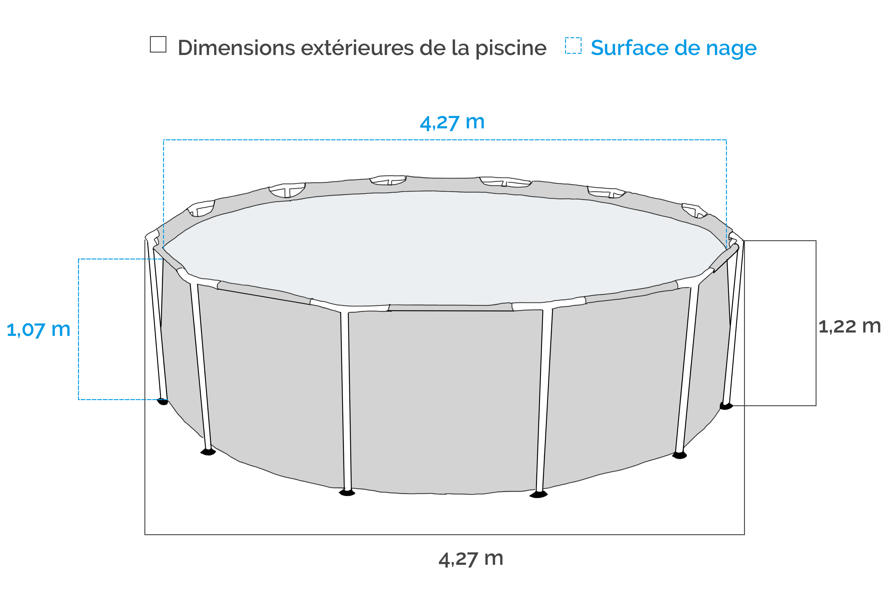 Piscine intex ultra frame 4 27 x m piscine tubulaire for Piscine intex 4 57 x 1 22