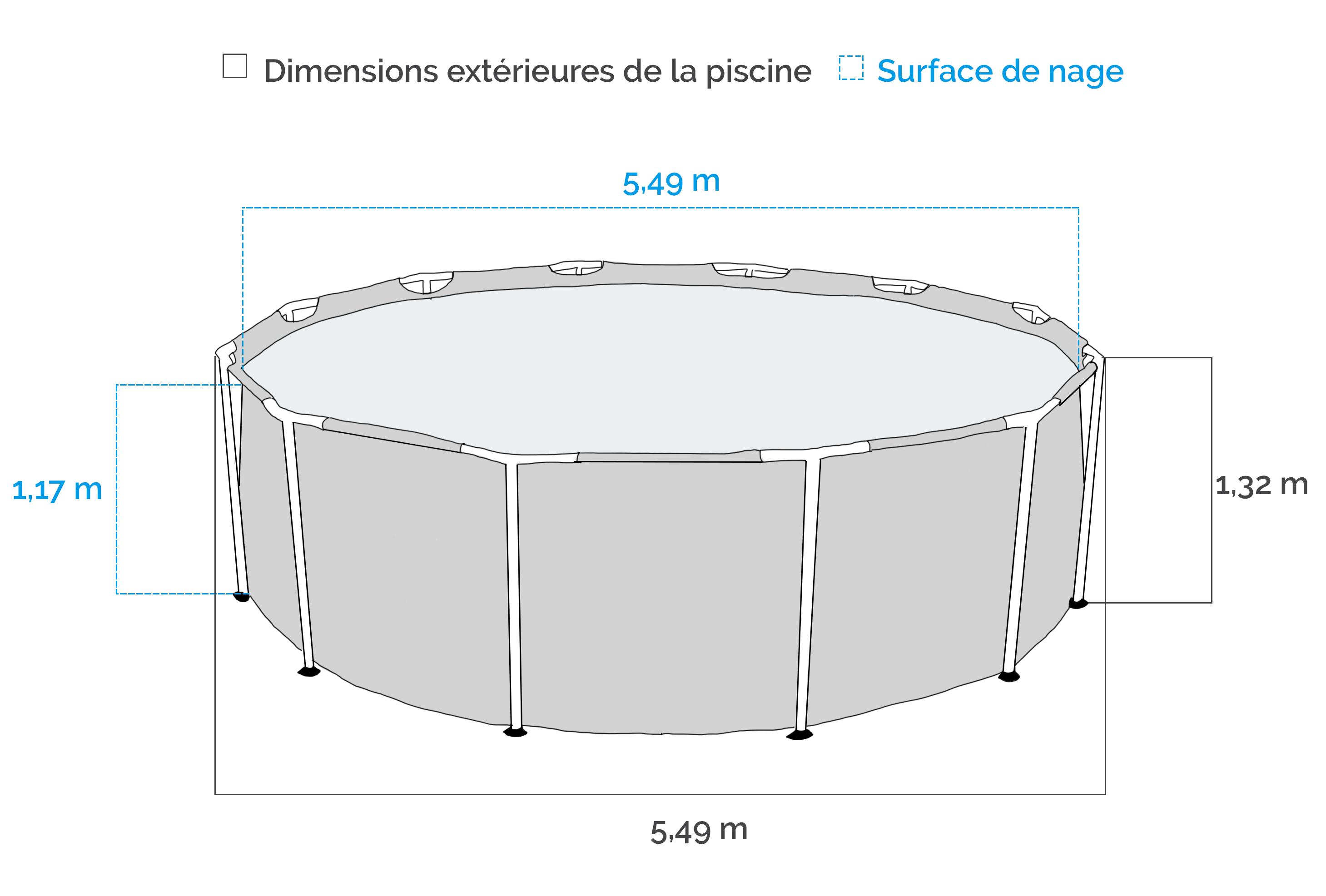 Dimensions de la Piscine tubulaire Intex Ultra Frame 5.49 x 1.32 m