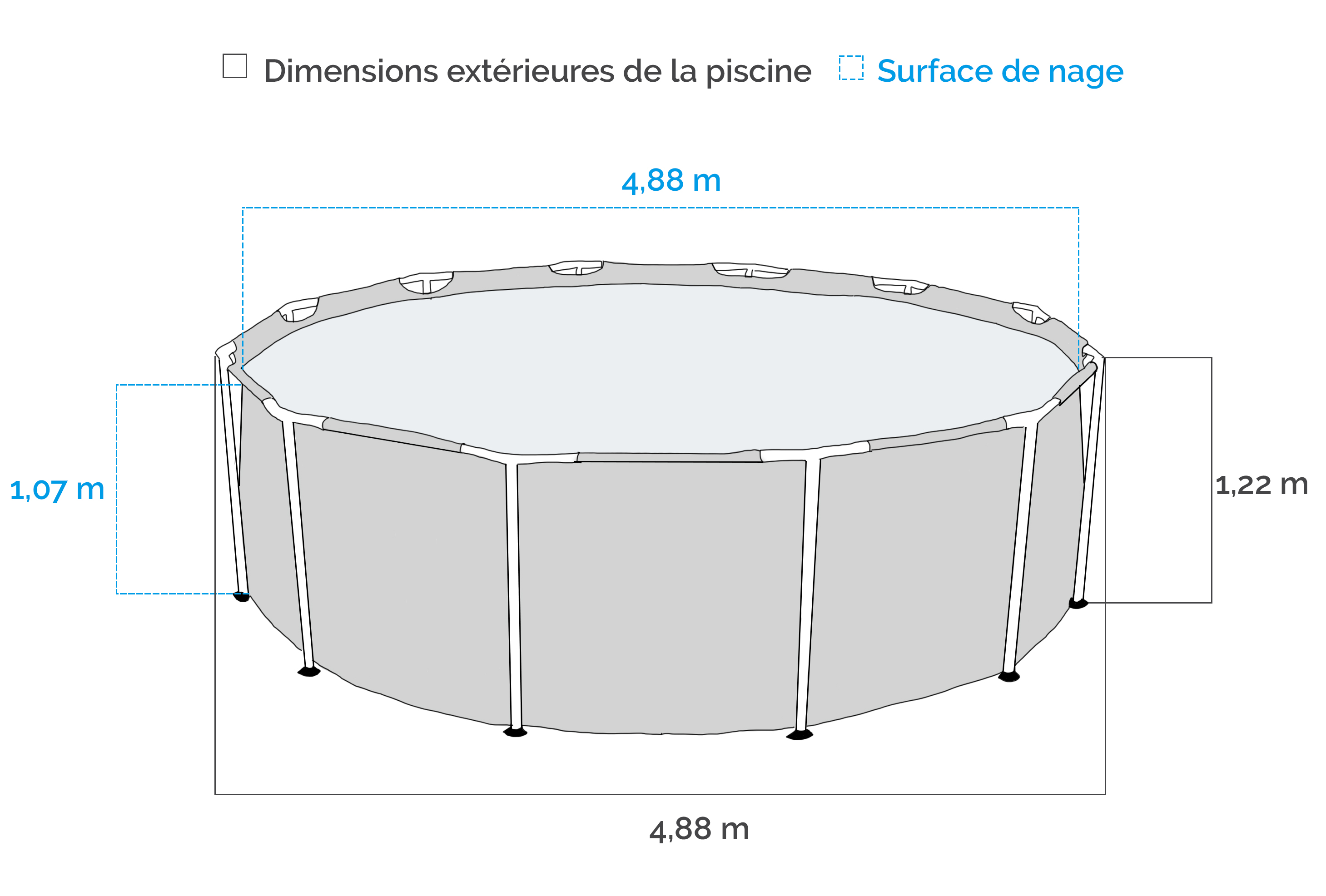 Dimensions de la Piscine tubulaire Intex Ultra Frame 4.88 x 1.22 m