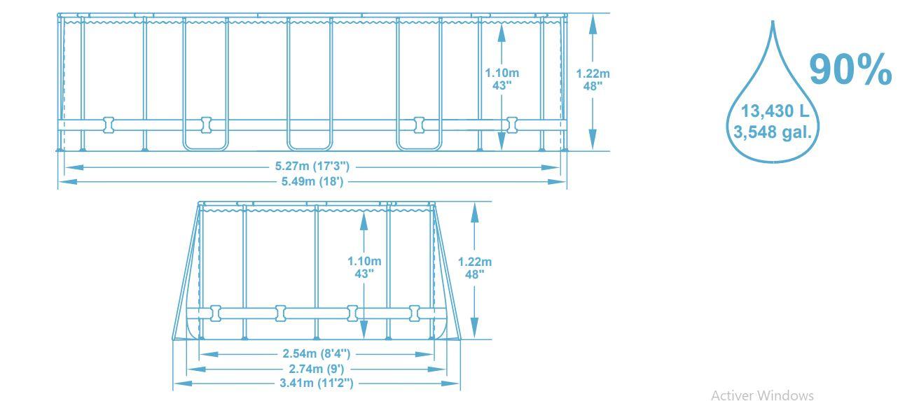Power STeel Frame piscine bestway dimensions