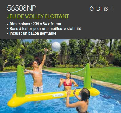 filet de volley gonflable pour piscine intex jeu de volley flottant intex. Black Bedroom Furniture Sets. Home Design Ideas