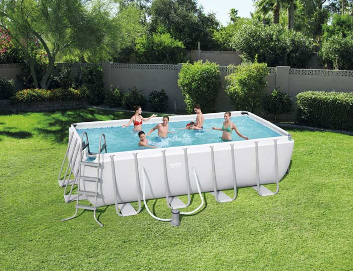 Kit piscine rectangulaire tubulaire Bestway Power Steel L 488 cm x l244 cm x h 122 cm