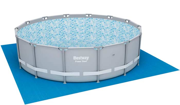 Kit piscine ronde tubulaire Bestway Power Steel tapis sol