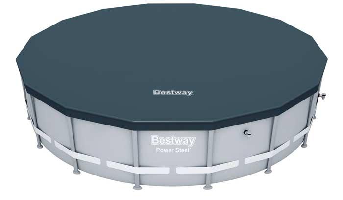 Kit piscine ronde tubulaire Bestway Power Steel bâche de protection