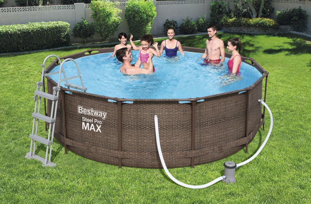 piscine rattant pro steel frame bestway