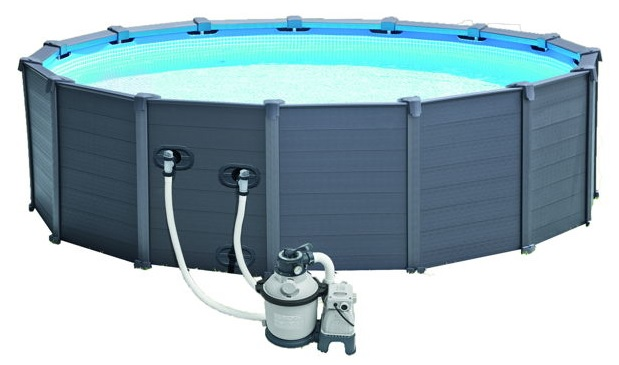 Piscine intex graphite 4 78 x 1 24 piscine tubulaire ronde for Piscine hors sol gris anthracite