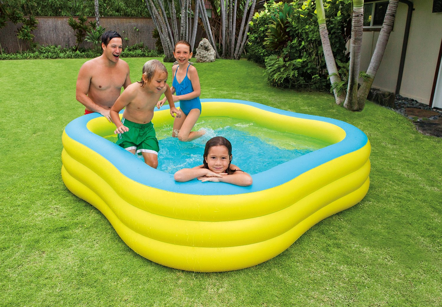Piscine gonflable carr intex wave swim center pool for Piscine demontable intex