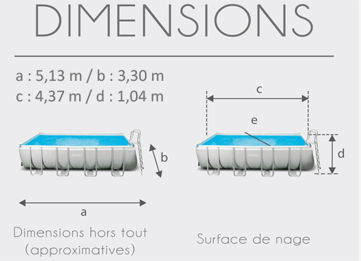 Dimensions de la Piscine tubulaire Intex Ultra Silver 4.57 x 2.74 x 1.22 m
