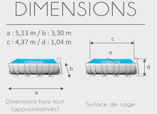 Dimensions de la Piscine tubulaire Intex Ultra Silver 4.57 x 2.74 x 1.22 m