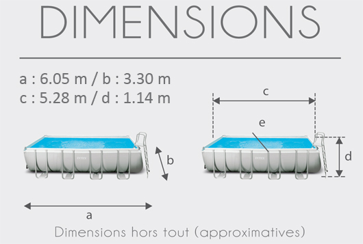Dimensions de la Piscine tubulaire Intex Ultra Silver 5.49 x 2.74 x 1.32 m
