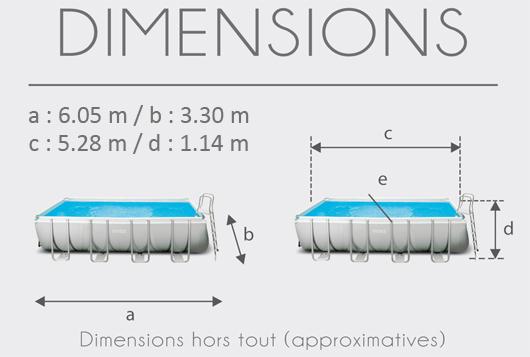 piscine tubulaire 5.49 x 2.74 x 1.32 m
