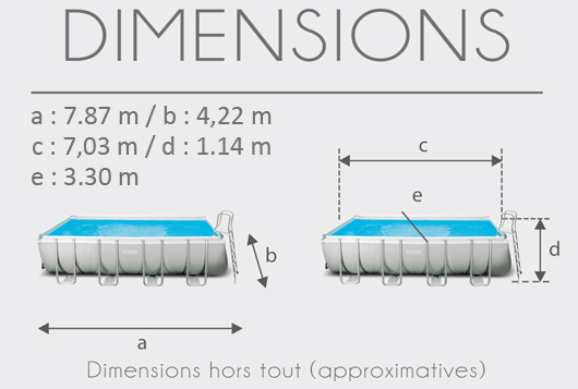 Dimensions de la Piscine tubulaire Intex Ultra Silver 7.32 x 3.66 x 1.32 m