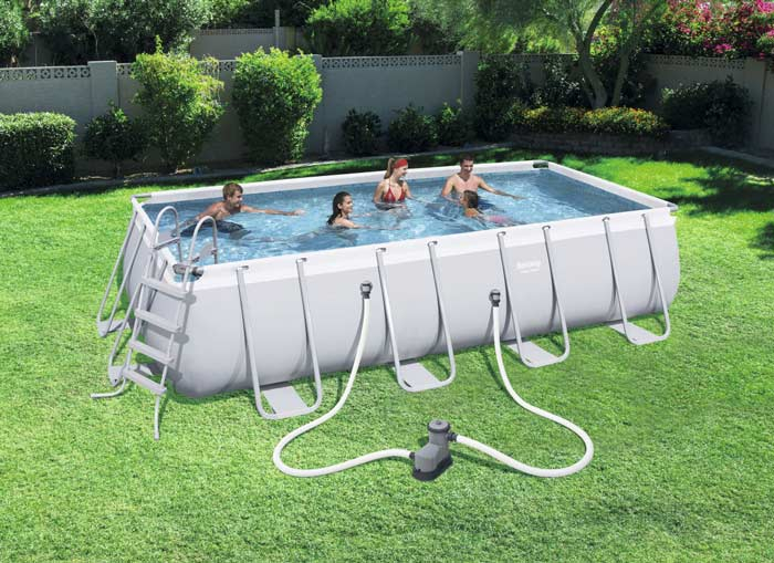 Kit piscine rectangulaire tubulaire Bestway Power Steel L 549 cm x l274 cm x h 122 cm