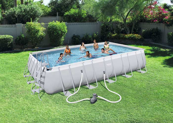Kit piscine rectangulaire tubulaire Bestway Power Steel L 671 cm x l366 cm x h 132 cm