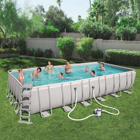 Kit piscine rectangulaire tubulaire Bestway Power Steel L 732 cm x l366 cm x h 132 cm