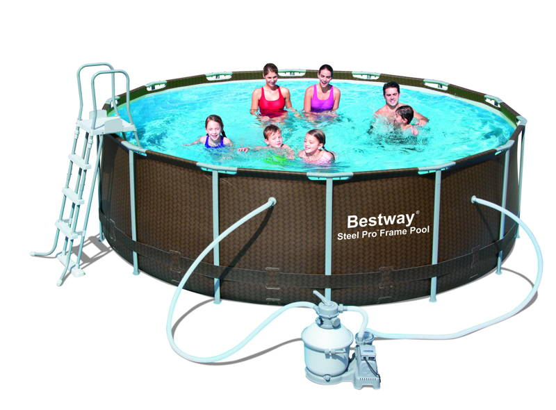 Piscine bestway steel pro frame imitation bois tress for Simulateur piscine