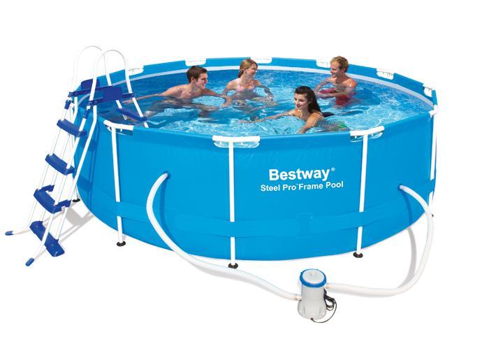 piscine tubulaire bestway steel pro frame x 1m piscines tubulaires rondes piscines. Black Bedroom Furniture Sets. Home Design Ideas