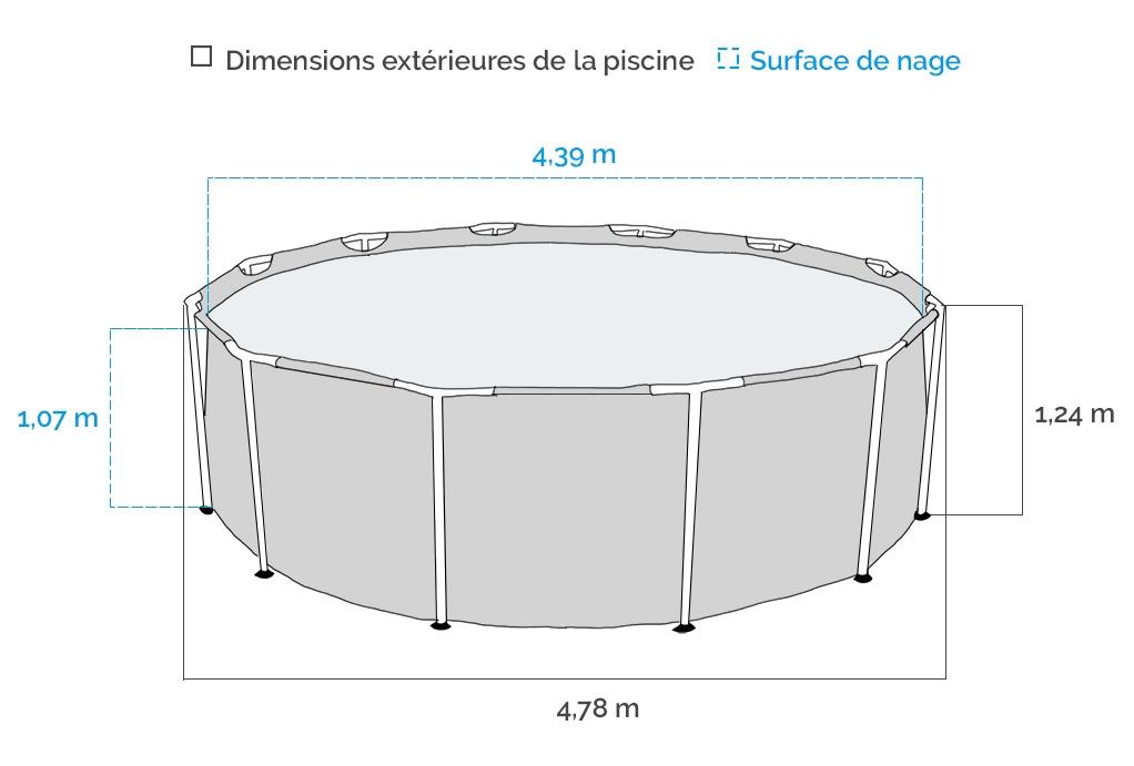Dimensions de la Piscine tubulaire ronde Intex Graphite 4,78 x 1,24m