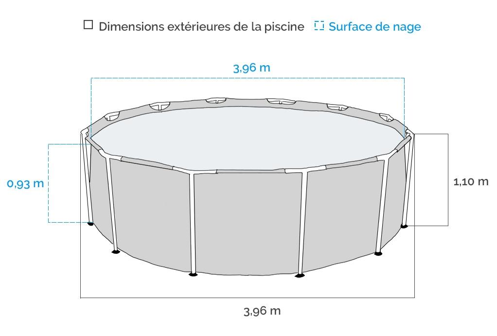 Dimensions de la Piscine tubulaire ronde Intex Graphite 4.17 x 1.09 m