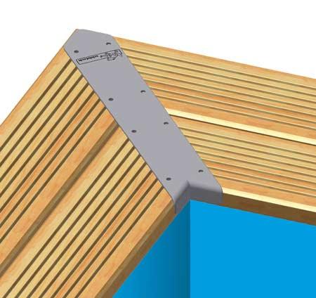 Kit de 4 pièces finition margelles 45° Ubbink alu piscine bois rectangulaire