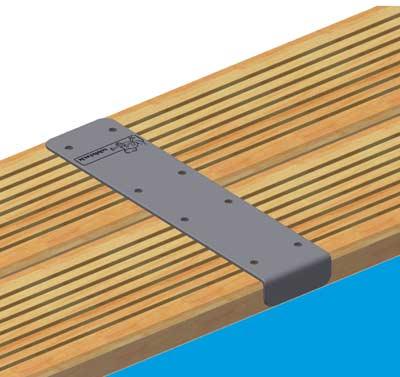 Kit de 4 pièces finition margelles droites 180° Ubbink alu piscine bois rectangulaire