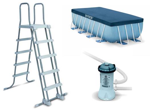 piscine tubulaire carr e intex prism frame 4 27 x 4 27 x 1 07 m. Black Bedroom Furniture Sets. Home Design Ideas