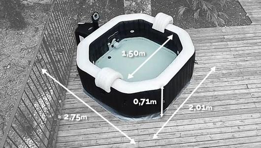 Dimensions du spa gonflable Intex Pure Spa Jets et Bulles 4 places