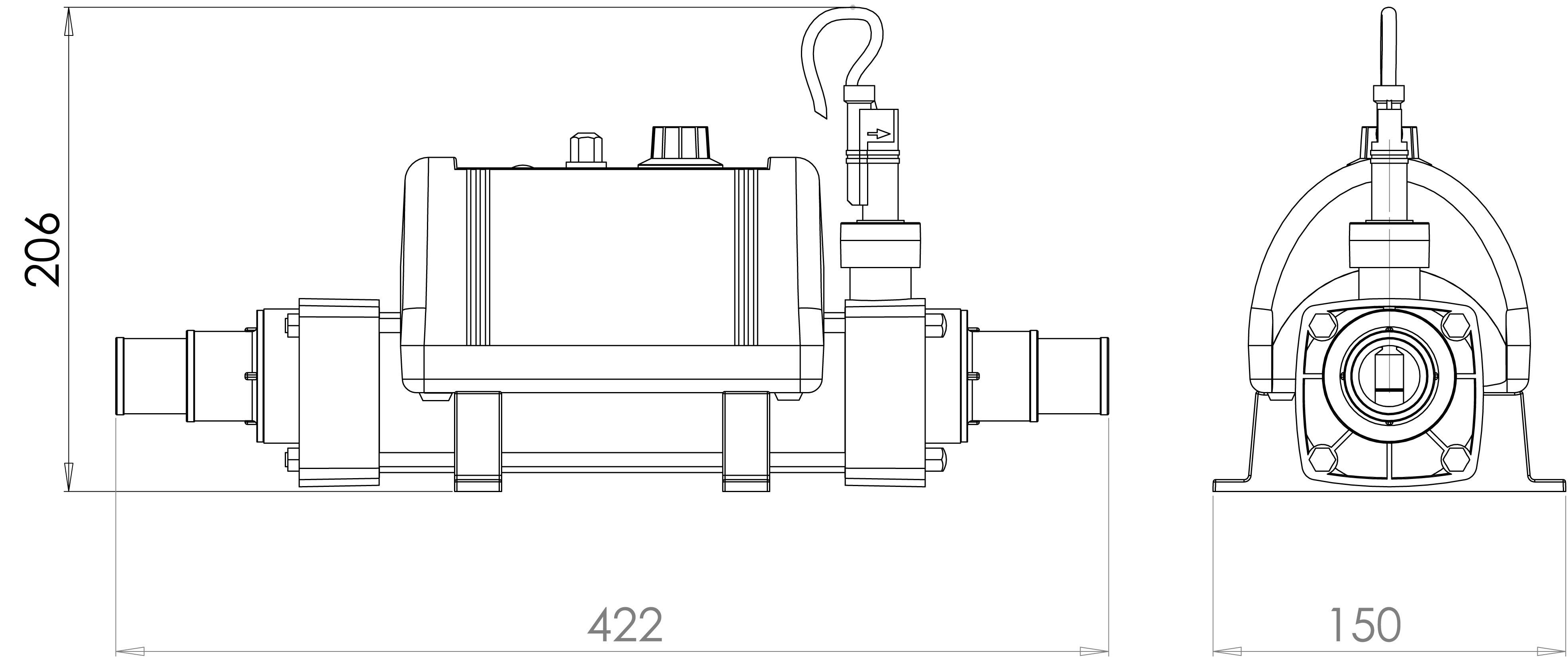 schéma dimensions réchauffeur Nano Splasher