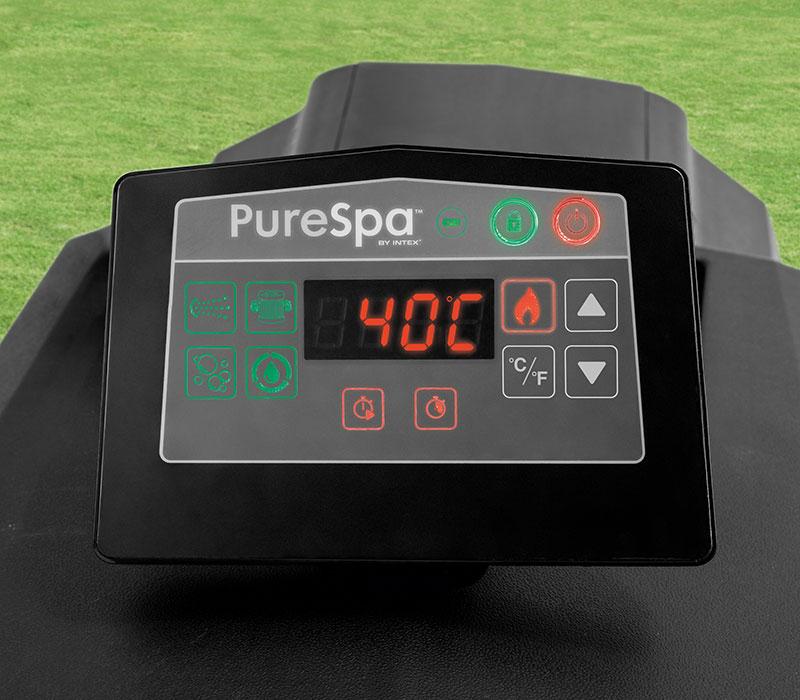Tablette tactile sur le bloc technique du nouveau spa Intex Carbone