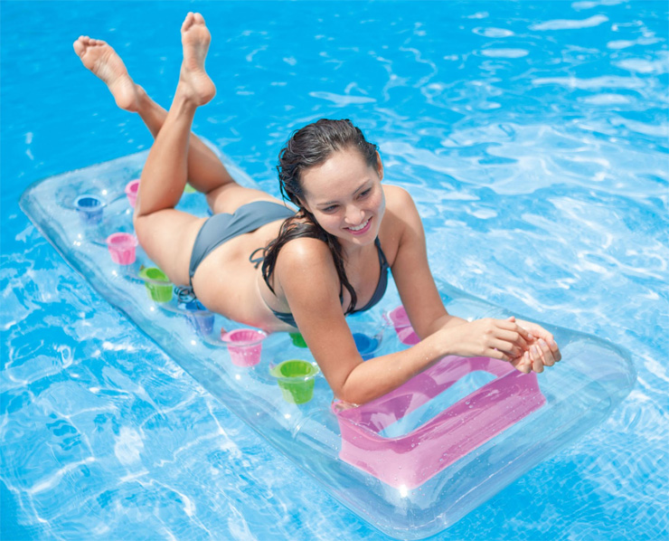 Matelas de piscine gonflable transparent Intex